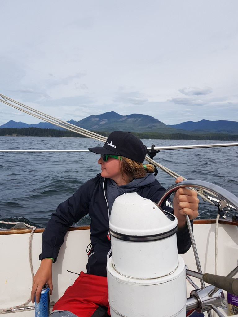 Katie Sailing her boat home to Ucluelet